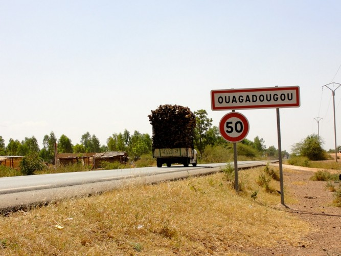 Sign of Ouagadougou in Burkina Faso.