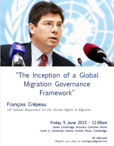 Poster for the conference ''The Inception of a Global Migration Governance Framework''