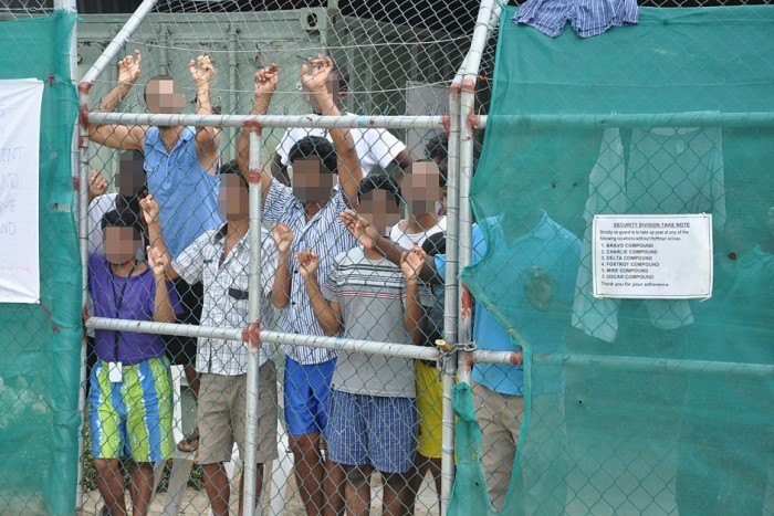 Refugees in detention centre.