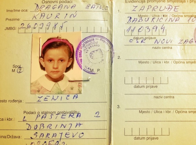 The passport of Dragana Kaurin when she was a child.