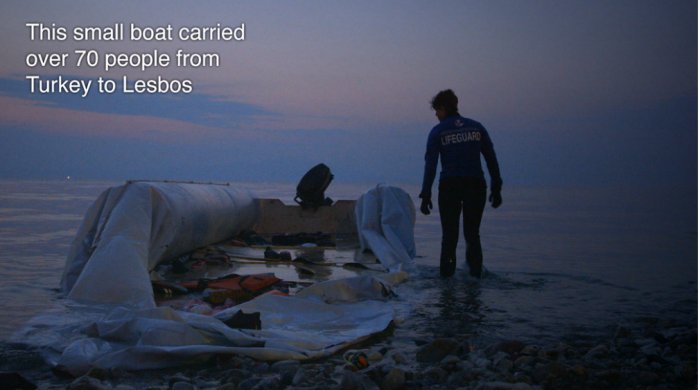 Small rescue boat carrying over 70 people that washed ashore