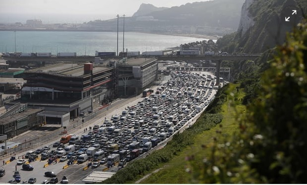 The impact of post-Brexit delays and checks at Dover risk tailbacks on Kent motorways. Photo Credit: Daniel Leal-Olivas/AFP/Getty Images