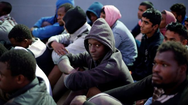 Migrants are put in dire detention camps after getting stuck in Libya while trying to reach Europe. Photo Credit: Reuters
