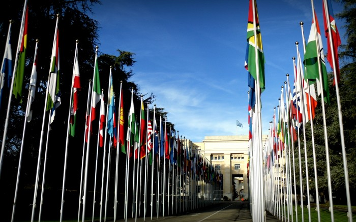 Flags of the UN member states in front of the Palace of Nations (Geneva, Switzerland).
