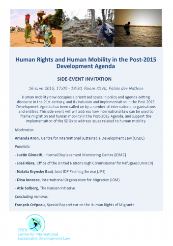 Flyer of the side event ''Human Rights and Human Mobility in the Post-2015 Development Agenda''