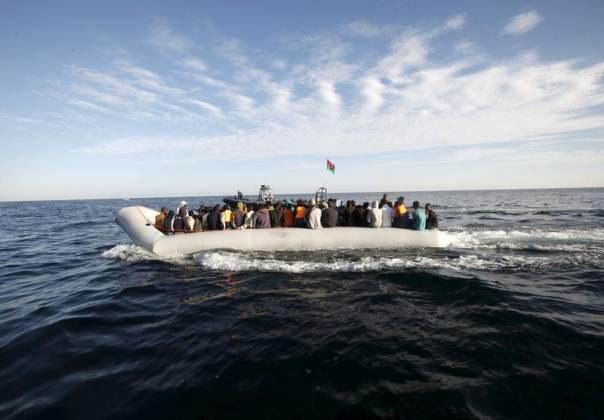 Migrants on a boat.