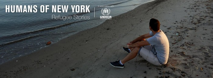 A young refugee looking at the sea, with the tile ''Human of New York Refugee Stories'' and the logo of UNHCR.