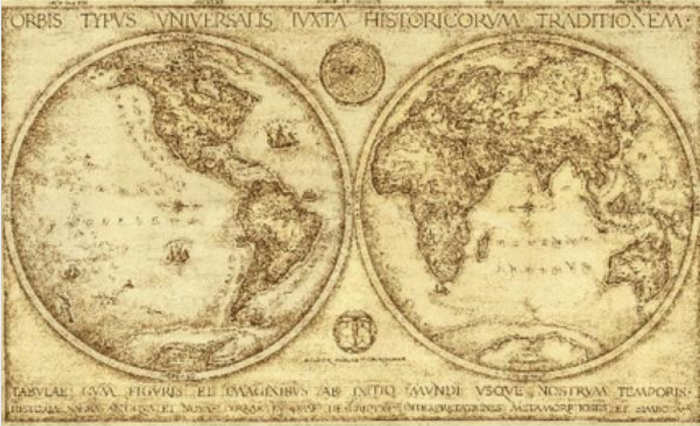 An old map of the world.