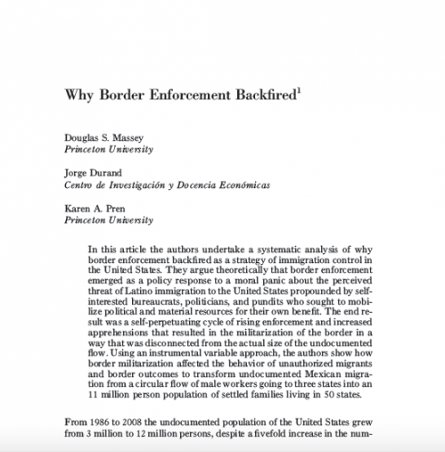 ''Why Borders Enforcement Backfired'': First Page Article Excerpt