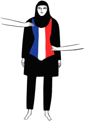 A woman wearking a burkini with a French flag is illustrated